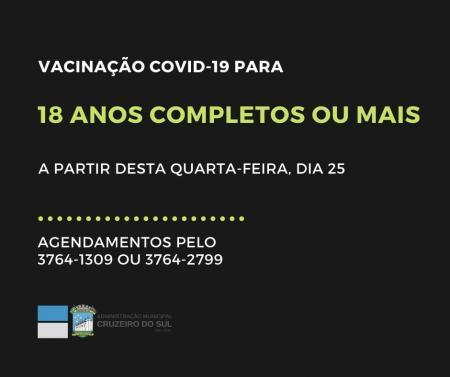 Maiores de 18 anos já podem agendar vacina contra Covid-19